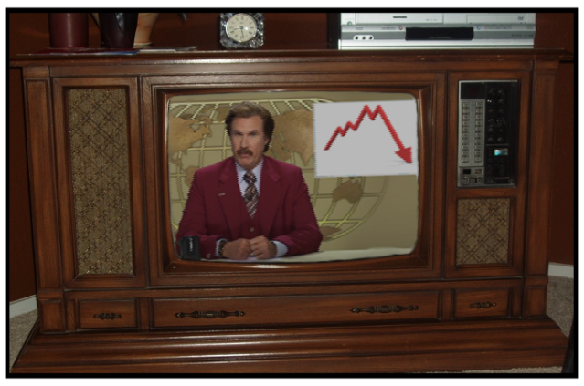 Wood paneling:  Check.  8-Track player:  Check.  Ron Burgundy:  Check.  It must be the 70s.