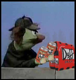 Hemlock double fists Duff Beer.