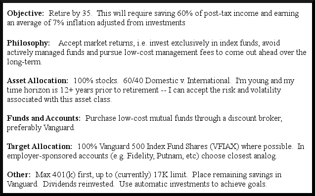 An Investment Policy Statement Update | Living a FI